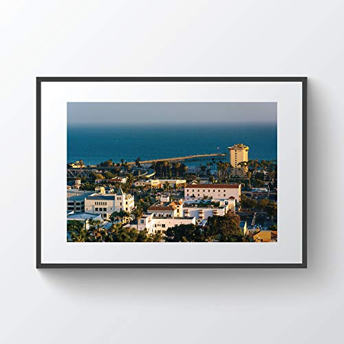 C-US-lmf379581 View of Downtown Ventura and The Pacific Ocean from Grant Park In Ventura California Photo Print Metal Canvas Framed
