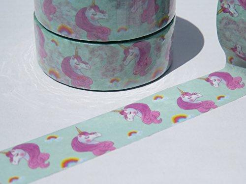Rose-et-Vert-licornes-Washi-Ruban-papier