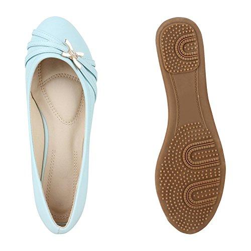 Klassische Damen Ballerinas | Lederoptik Flats | Schuhe Übergrößen | Flache Slipper | Spitze Prints Strass Hellblau Strass