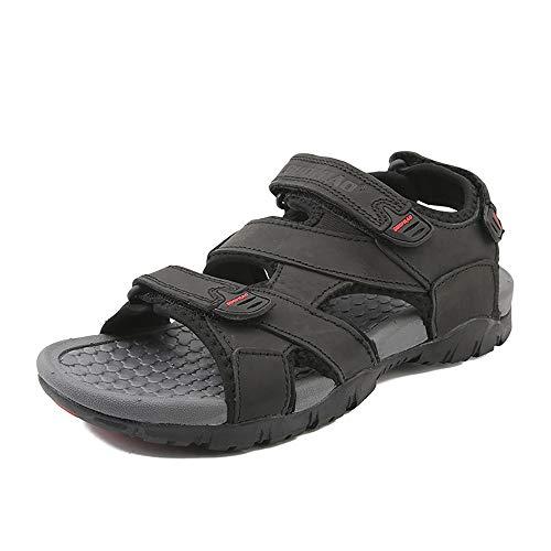 RZL Freizeit-Sandalen, Outdoor-Sandalen für Männer, Schlupfschuhe, OX-Leder, Klettverschluss, modische Outdoor-Trendschuhe, Schwarz - Schwarz - Größe: 39 EU (Leder Sandalen 15 Männer Größe Für Aus)