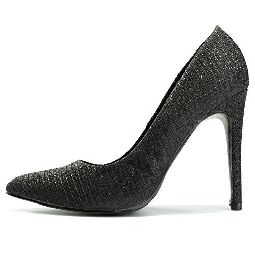 Alexis Leroy stiletto fête élégante escarpins de travail chaussures pointue femme Noir