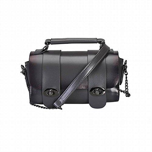 YTTY Damen Tasche Kette Messenger Bag Doppel Schnalle Schulter Kleine Quadratische Tasche Mode Wilde Handtasche Einfache Tasche, grau -