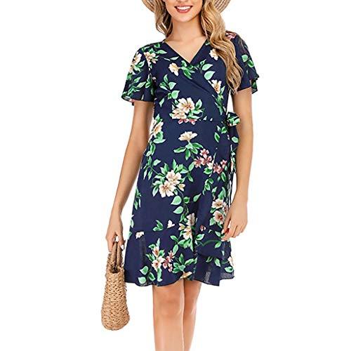 UYSDF Knie Kleid für Damen,Mode Chiffon Blumen Drucken V-Ausschnitt Kurzarm Bandage Kleid 2019