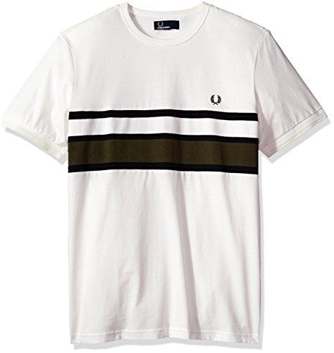 Fred Perry Herren Bomber Streifen t-Shirt Schneewittchen XXL (Perry Herren Streifen Fred)