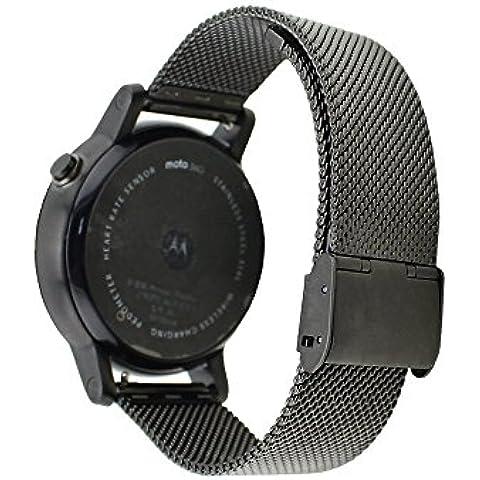 WayIn® 22MM acero inoxidable Enlace la correa de reloj de banda con hebilla desplegable duradero para Motorola Moto 360 (2ª generación) Moto 360 46mm Reloj de los hombres de la banda (Negro)
