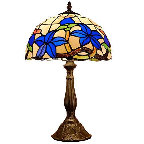 Tiffany Stil Tischlampe Mode Schreibtischlampe Gardenia Nachtlicht Handgemachte Lampenschirm Leselampe for Hotel Nachtarbeitszimmer Büro Dekoration Leuchte (Color : Multi-colored, Size : 12 inch) - Elegante Gardenia