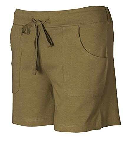 Women's Plain Ladies Drawstring Cotton shorts Casual Spring Summer Bottoms (Large, Olive)