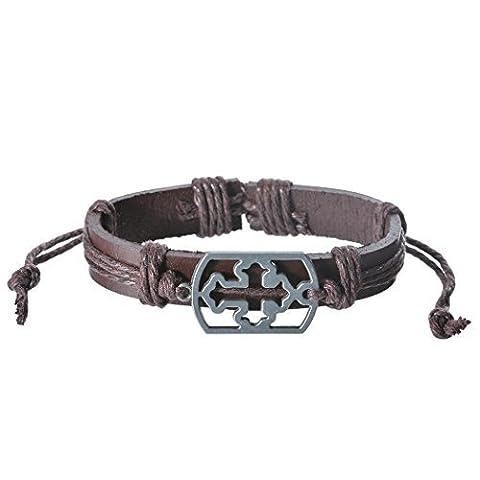 Véritable Spark mixte pour homme Marron Cord One Piece Croix en métal Charms Bracelet cuir