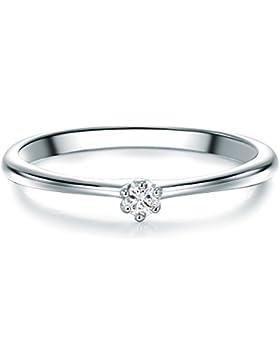 Tresor 1934 Damen-Solitärring Sterling Silber Zirkonia weiß im Brillantschliff - Vorsteckring Silberring Verlobungsring...