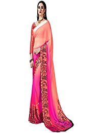 Deepjyoti Creation Women's Georgette Pink Color Saree With Print Blouse Piece