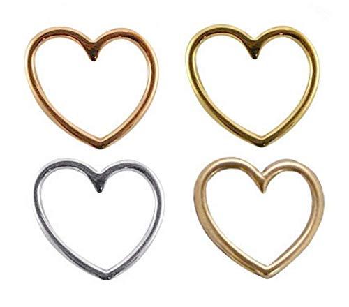 Sadingo Anhänger Herz - 4 Stück - DQ Metall Schmuckverbinder Armband basteln - 15 x 16 mm - 4 Farben - Damen Charms