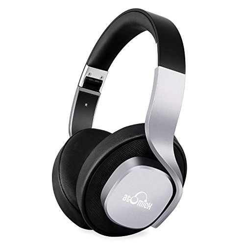 Bluetooth Headphones, iDeaUSA Wireless Headphones Stereo Mega Bass Over Ear Headset Foldable and Lightweight 25 Hours Music Playtime Built in Mic for TV, Air Travel - Black/Silver