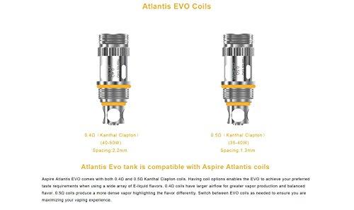 Aspire EVO Verdampferköpfe mit 0,4 Ohm - für EVO75 Kit und Atlantis EVO Tank - 5 Stück pro Packung