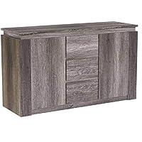 Right Deals UK Canyon 2 Door 3 Drawer Sideboard - Unique 3D Design Oak Finish