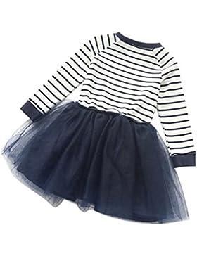 Mädchen Kleid, Kind Mädchen Kleinkind Herbst Streifen Splice Langarm Kleid Net Garn Prinzessin Kleid Simonabo