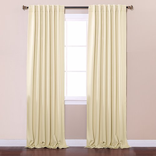 Best Home Fashion Thermal Insulated Blackout Curtains - Back Tab/ Rod Pocket - Beige - 52W x 84L - No tie backs (Set of 2 Panels) by Best Home Fashion (Tie-tab-panel)
