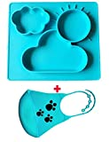 Silikon Baby Platzdeckchen Tisch-Sets und Tablett, stark Saugnapf für Babys, sicher ungiftig Lebensmittelqualität Silikon, Phthalate frei, nicht zerbrechlichen, mit einem Silikon-Baby-Lätzchenblau