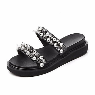 pwne Donna Pantofole &Amp; Flip-Flops Comfort Pu Primavera Estate Casual Nero 4 In-4 3/4In Black Us6 / Eu36 / Uk4 / Cn36 US6.5-7 / EU37 / UK4.5-5 / CN37