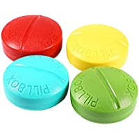 ULTNICE 2 Stücke Runde Pillenbox 4 Fächer Pillendose Vitamine Organizer für Reise Outdoor Unterwegs (zufällige... preisvergleich bei billige-tabletten.eu