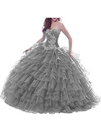 Gorgeous Novia corazones brillantes Organza de novia (Prom Pageant quinceañera Vestido