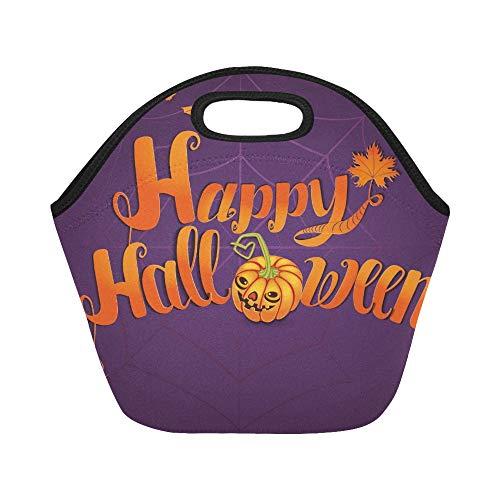 Isolierte Neopren Lunch Bag Happy Halloween Grußkarte Banner handgefertigt große wiederverwendbare thermische dickes Mittagessen Tragetaschen für Lunch-Boxen für draußen, Arbeit, Büro, Schule