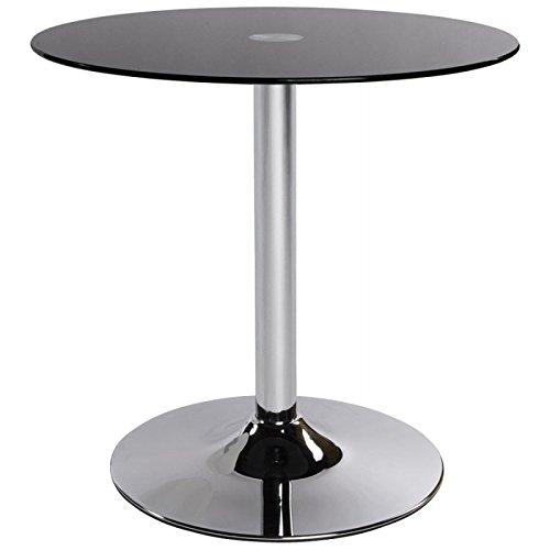 Table ronde VINYL en métal et verre trempé (noir)