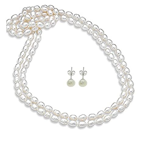Stunning Pearl Necklace 7-8mm Rice Shape White Natural Freshwater Pearl