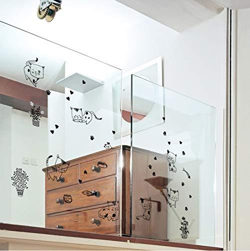 JXSTORE Wandaufkleber für Schlafzimmer Wohnzimmer Mädchen Junge Küche - Cartoon Niedliche Katze Kitty Life Animal