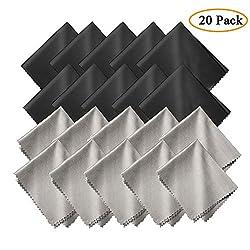 20X Mikrofasertücher-15x18 cm Mikrofasertücher Brillenputztuch, Microfaser Reinigungstücher für Mobiltelefone Tablet Laptop Kameralinsen LED TV/HD-Bildschirme (schwarz/grau)