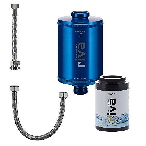 riva Filter | Trinkwasser Filter-Set Active | WASSERHAHNFILTER - Gesundes Trinkwasser | AKTIVKOHLE - Reduziert Schadstoffe - schont Nährstoffe | Inkl. flexiblem Schlauchanschluss-Set | Blau