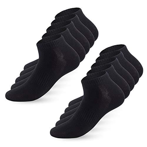 YouShow Sneaker Socken Herren Damen 10 Paar Sportsocken Kurze Halbsocken Baumwollsocken Unisex Atmungsaktiv_Schwarz_43-46 -
