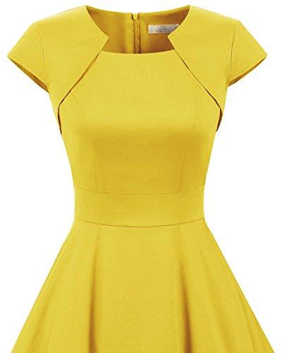 Homrain Damen 50er Vintage Retro Kleid Party Kurzarm Rockabilly Cocktail Abendkleider Yellow