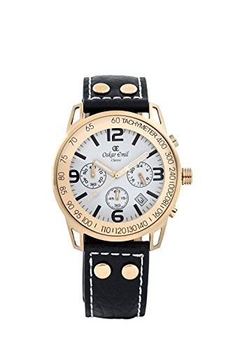 Oskar-Emil Classic Watches - Conquest Gold/White - Montre Homme - Quartz - Analogique - aiguilles luminescentes - Bracelet Cuir noir