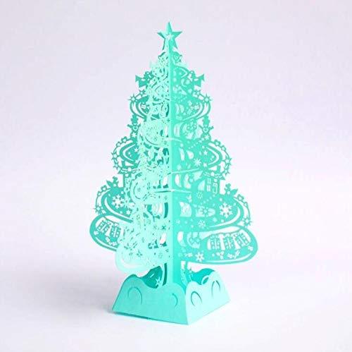 (Vazan - Weihnachtsbaumg 3D-Laser-Schnitt-Pop-Up-Karten handgemachte Dekoration Karte Frohe Weihnachten Party Supplies [blau])
