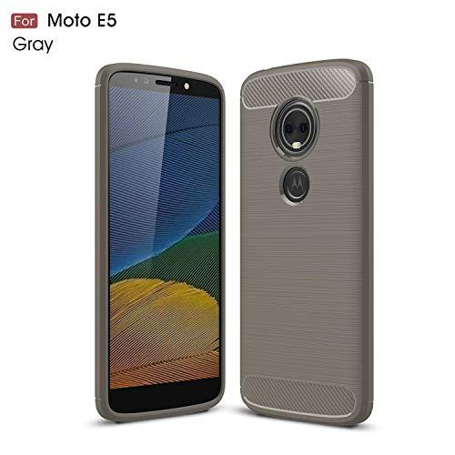Motorola Moto E5 Hülle (XT1920DL) YMH strapazierfähige Panzerfolie und stoßdämpfende TPU-Hülle, für Moto E5 (Tracfone, Simple Mobile, Straight Talk, Total Wireless), grau