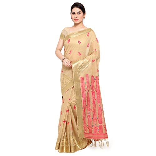 Varkala Silk Sarees Women's Khadi Silk Kanchipuram Saree(MCJB5013CMRN__Cream & Pink)  available at amazon for Rs.3750
