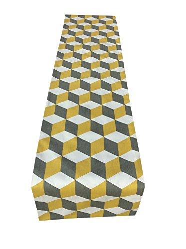 Atemberaubende Angesehenen Stoff Safran Geometrische senf gelb grau weiß Vorhang Stoff gerade Enden Tischläufer/Bett/Hochzeit Home, Küche, Sofa, Schlafzimmer, Wohnzimmer, Esszimmer., baumwolle, Grey/White/Yellow, 152,4 cm