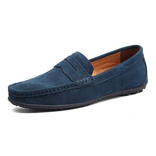 SHENNANJI Für Männer Freizeit Driving Loafers Round Toe Mokassins Casual Flache Penny Schuhe Faux Suede Slip On Stitch rutschfeste Leichte (Color : Dunkelblau, Größe : 47 EU) -