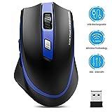 TedGem Kabellos Maus, 2.4G Aufladung Funkmaus, Wireless Maus, Laptop Maus mit USB Nano Empfänger, 6 Tasten, 5 Einstellbare DPI für PC/Tablet/Laptop und Windows/Mac/Linux (Aufladung und Ruhig)