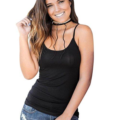 AmazingDays Chemisiers T-Shirts Tops Sweats Blouses,Femme Blouse D'Été sans Manches Criss Cross Tank Top Black