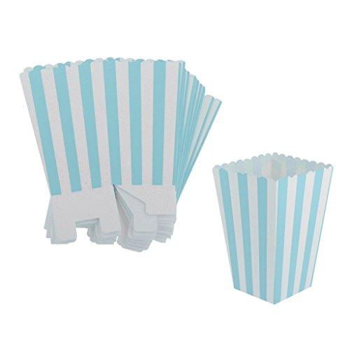 sharplace, 12Stück Papier Pappe gestreift Welligkeit Popcorn Candy Boxen Behälter Staubbeutel Partyzubehör, blau, Striped