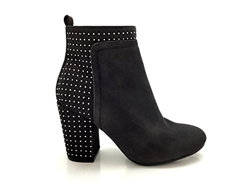 CHIC NANA . Chaussure Femme Bottine à Talon, Effet Daim, Strass Blanc sur Talon et Partie arrière.
