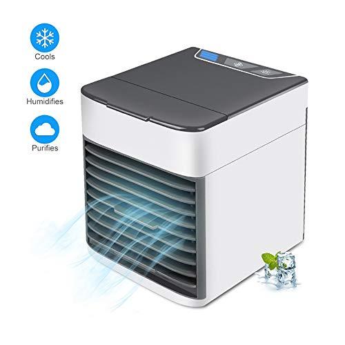 Fr Desktop (Ice-Beauty-ukzy Air Cooler USB Mobile Klimaanlage Mini Luftbefeuchter Und Luftreiniger Cool Air Ventilator 3 In 1tragbare 7 Farben Led Licht FR Home Office Draussen Desktop Weiß)