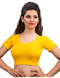 8cae7d82cec651 S Salwar Studio Women s dark-yellow Cotton Lycra Non-Padded Stretchable  Readymade Saree Blouse