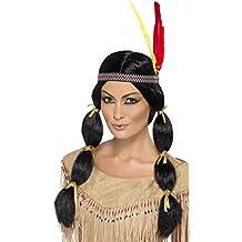 SmiffyS 42449 Peluca Inspirado Por Los Americanos Nativos Con Coletas Y Cinta, Negro, Tamaño