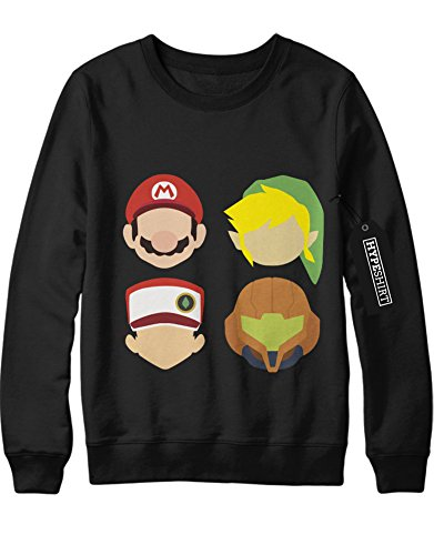 Sweatshirt Pokemon Go Super Mario Link Zelda Metroid Samus Team Rocket Jessie James Mauzi Kanto 1996 Blue Version Pokeball Catch 'Em All Hype X Y Nintendo Blue Red Yellow Plus Hype Nerd Game C210006 Schwarz M (Pokemon Misty Kostüm)