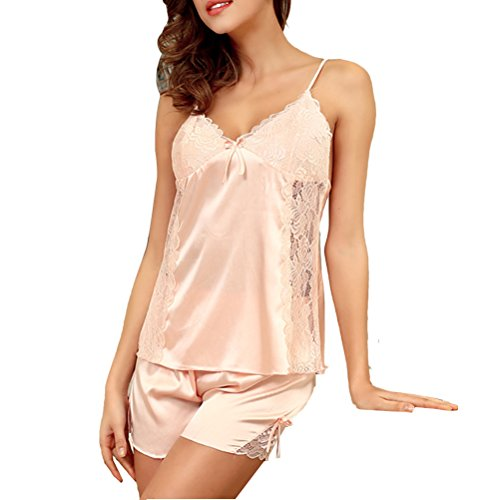 Zhhlaixing Comfortable Women's 2pcs Sexy Lace Silk Lingerie Strap Sleeveless Sleepwear Light Pink