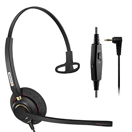 Arama 2,5mm Telefon Headset Mono mit Noise Cancelling Mikrofon, Lautstärkeregler, Festnetztelefone Kopfhörer für Siemens Gigaset Panasonic Grandstream Polycom Schnurlostelefon(A800CP) (Telefon-headset-mikrofon)