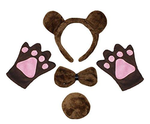 rnband Bowtie Schwanz Glove 4pc Partei-Kostüm für Kinder Einheitsgröße Braun ()