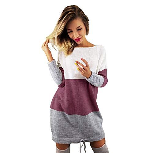 Kleider Damen,Strickkleid Mit Rundhals Lässige Lange Ärmel Partykleid A-Linie Dress Freizeit Lose Pulloverkleid Mode Pullover Strick Minikleid Resplend